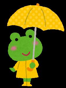 傘をさすカエル